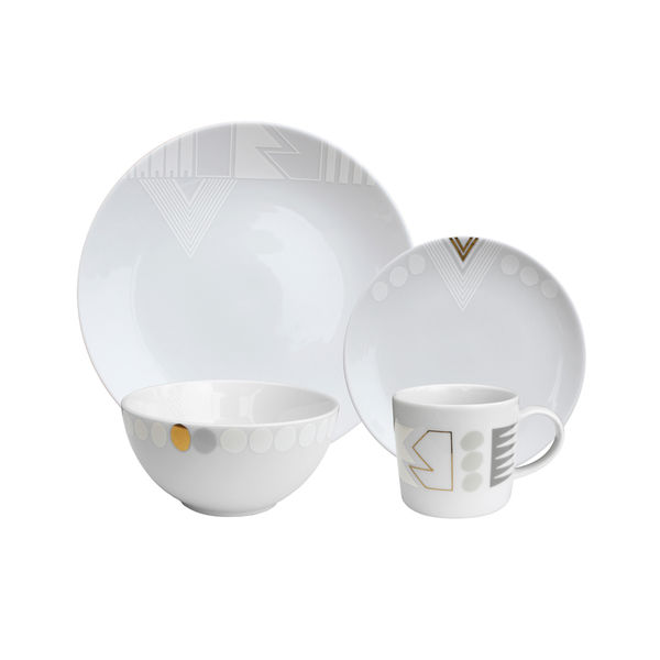 White Noise Dish Four Piece Set by INKdish