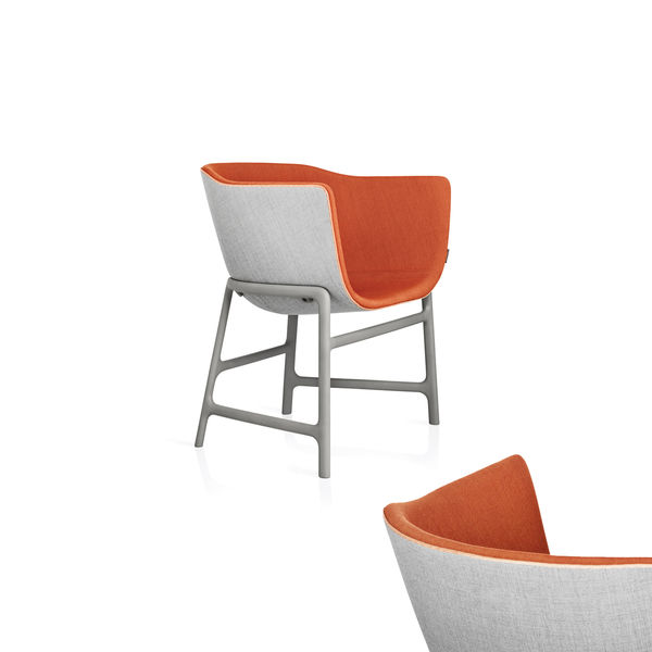 Modern gray and orange armchair by Fritz Hansen