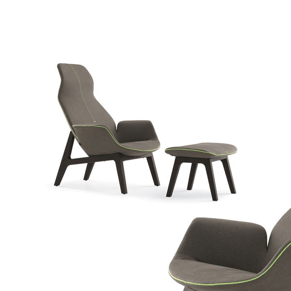 Modern gray lounge chair with neon green piping
