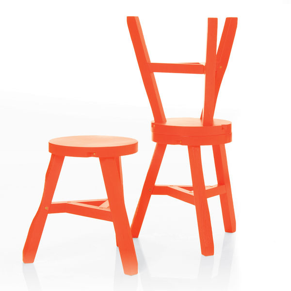 Orange offcut stool byTom Dixon.