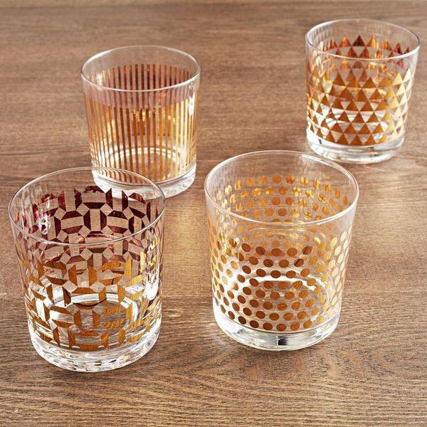 Metallic Print Glassware Set