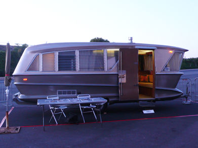"""The original showroom model for the Holiday House trailer, designed in 1960 for David H. Holmes, half of the Harry & David fruit company, by automotive designer Charles Pelly. From <A HREF=""""http://designingla.com/"""">Designing LA</A>."""