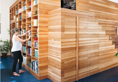 modern wooden storage box unit