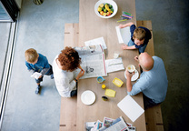 composite index house interior portrait family at kitchen table