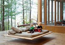 outdoor wooden hanging bed