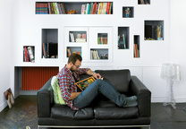 front and back apartment interior portrait Mathieu reading