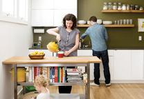 custom floating shelves in kitchen