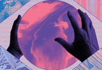 tech styles hands holding sphere illustration