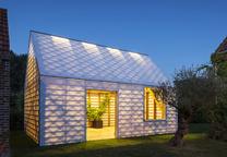 garden room facade night