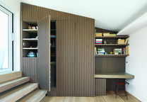 modern lycabettus penthouse apartment oak vertical slats office