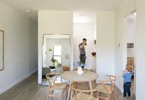 spare change floating mirror oak table oak flooring