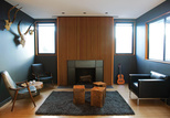masculine design bungalow with wood fireplace