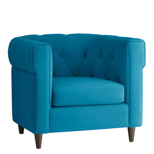 Blue tufted upholstered armchair by West Elm
