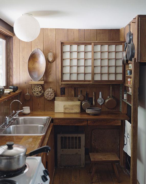 Artists handmade houses george nakashima kitchen
