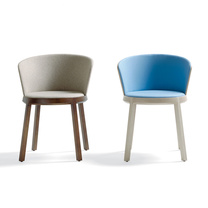 rounded fabric and wood chairs