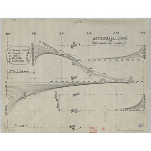 """""""Study for Metastaseis"""" from around 1953 shows how architecturally minded Xenakis was even when plotting out a piece of music. """"Metastaseis"""" is one of his most significant compositions and it was the basis for his Philips Pavilion in Brussels with Le Corb"""