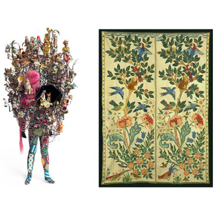 Nick Cave Soundsuit side-by-side with a tapestry by Arts and Crafts master May Morris.