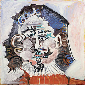 Tête d'homme du 17ème siècle de face, 1967, Oil on canvas.25 1/2 x 21 1/2 inches (65 x 54.5 cm). Image © 2009 Estate of Pablo Picasso / Artists Rights Society (ARS), New York / courtesy Gagosian Gallery.