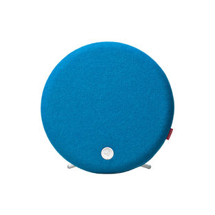 Compact blue speaker with wool cover