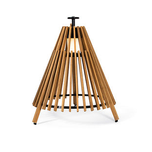 Essential outdoor products like the teak and steel Tipi outdoor floor lamp by Marten Gustav for Cyren Skargaarden