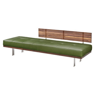 Peach and Green furniture and products including the Knox daybed by American Leather in walnut and stainless steel