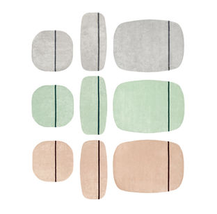 Peach and Green furniture and products including the wool Oona carpets by Normann Copenhagen