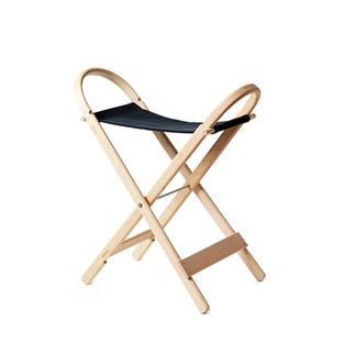 folding stool x by ake axelsson made of beech wood and canvas