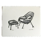 Womb Chair Linocut