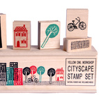 Yellow Owl Cityscape Stamps