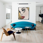 A Minimalist Pop Art Living Room in the Houston Heights
