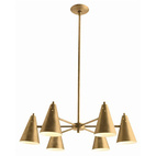 Sherman 6L Antique Brass Chandelier