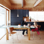 Minimalist Pine-Clad Dining Room in Sweden