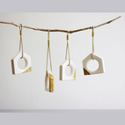 Geometric Gold and White Ceramic Ornaments
