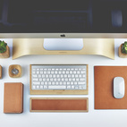 Streamlined Wood-and-Leather Desk Accessories