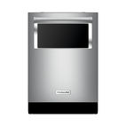 Modern energy efficient kitchen appliances like the Kitchenaid dishwasher with window