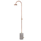 Essential outdoor products like the copper and cement Aquart outdoor shower by Selab Selletti