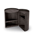 moon table by mist-o for living divan made of charcoal-dyed oak