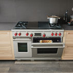 """Wolf 48"""" Gas Range with four dual-stacked burners, gas convection oven, and infrared broiler."""