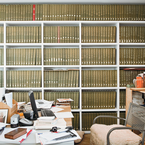 Ben's office contains an impressive reference library for his inventory of antiquarian books.