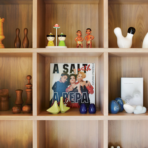 Modern custom wooden shelves with object collections