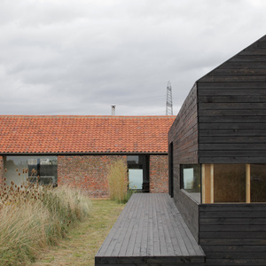 Outdoor view of renovated farmhouse in Norfolk, England