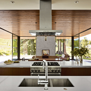 Modern kitchen with Thermador appliances and Caesarstone countertop
