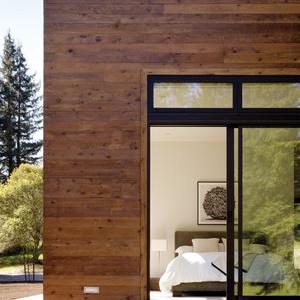 Outdoor view of master bedroom with sliding glass doors