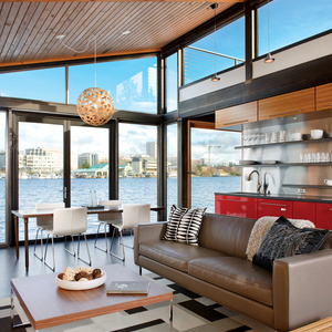 floating home living room renovation in Seattle, Washington