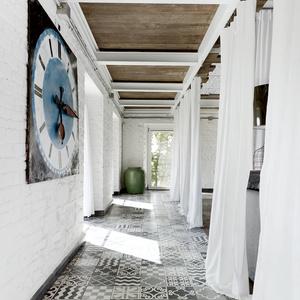 Modern custom-tiled floor.