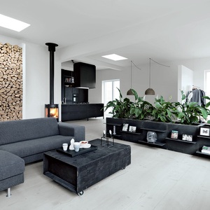 Modern living area with planters and gray furniture