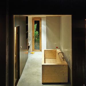 compact cabin interior bathroom