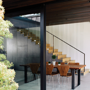 open dining room with glass doors