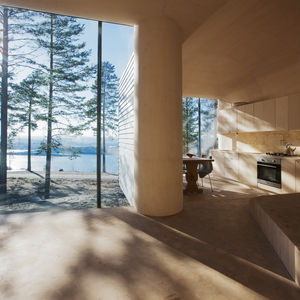 Norwegian kitchen with floor-to-ceiling windows and custom-built cabinets.