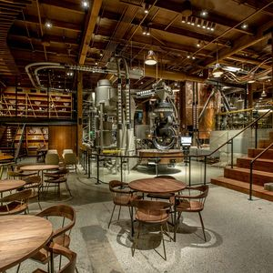 Starbucks Roastery in Seattle with wood tables